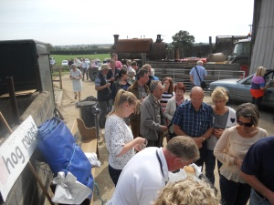 Queue for the popular hog-roast with Lord Granby looking on
